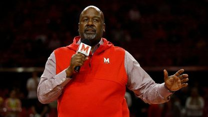 Maryland head football coach Michael Locksley speaks during halftime of the basketball game between Maryland and Loyola-Maryland on Dec. 11.