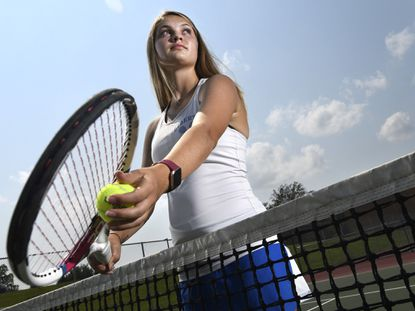 Liberty senior Grace Johnson, who won a county singles title and finished with a 14-1 record this spring, is the 2021 Carroll County Times Girls Tennis Player of the Year.