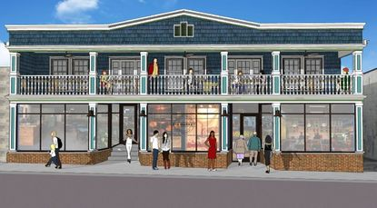 The front of 818 Market, a Catonsville grocery whose owners will begin construction in March, is shown in a concept drawing by architect Todd McEntire.