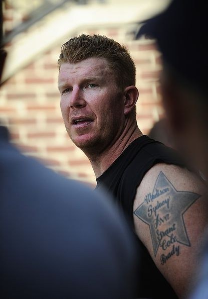 Baltimore Ravens center Matt Birk talks to reporters gathered for the first practice of summer training camp at the Ravens' Owings Mills training facility Tuesday.
