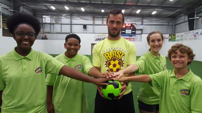 Two-time MVP William Vanzela, center, goalie with the Baltimore Blast, is the chief champion of We Cancerve's Goals for Grace, a fundraiser to benefit their Pediatric Patient Assistance Fund at Sinai Hospital.