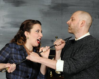"""Ann Turiano and Eric C. Stein as the innkeepers in """"The Mousetrap."""""""