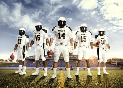 "Over the past six years, Under Armour has devoted much time and resources to developing specialty uniforms for the Army-Navy football game. In 2014, Under Armour unveiled the ""dress whites"" look for the Midshipmen."