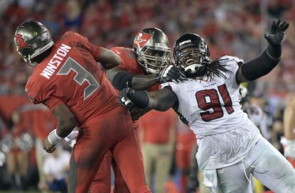 Atlanta Falcons defensive tackle Courtney Upshaw, 91, rushes Tampa Bay quarterback Jameis Winston during the second half of an NFL football game in Tampa, Fla.