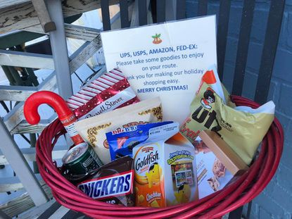 """A basket left out for those delivering parcels around the holidays as a way of saying """"thank you."""""""