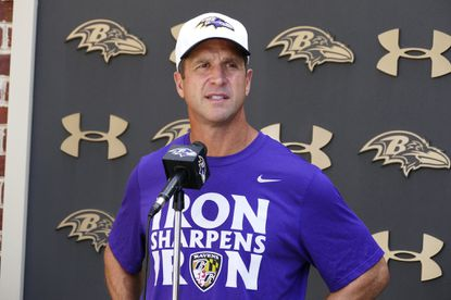 Ravens coach John Harbaugh speaks with the media before practiceon Sept. 8, 2015.