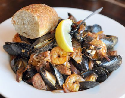 This mussels and beer entree is one of the items on the menu at Mama's on the Half Shell in Canton.