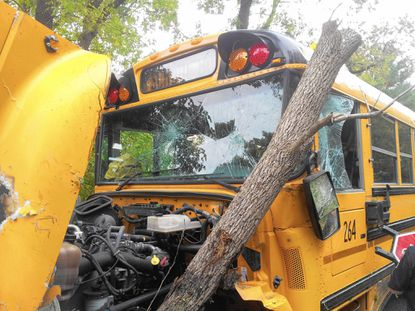 A school bus carrying students to Pikesville Middle School overturned on Greenspring Avenue in Baltimore County in 2013. Five children and one adult suffered minor injuries.