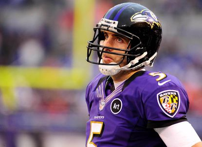 Ravens quarterback Joe Flacco looks on during a game against the Denver Broncos on Sunday.
