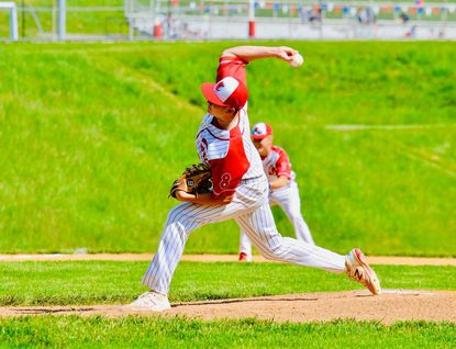 Centennial pitcher Conarie Steinbach delivers a pitch during the Eagles' 7-0 win over Marriotts Ridge on Monday, May 17. Steinbach struck out 11 in his shutout win.