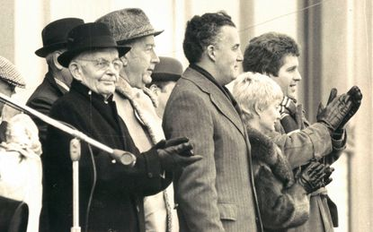 Former Baltimore archbishop Lawrence J. Shehan, left, at Baltimore's St. Patrick's Day parade in 1979. A new report says Shehan transferred priests accused of abuse to new posts with no discipline when he served decades ago as head of the Bridgeport, Connecticut diocese.