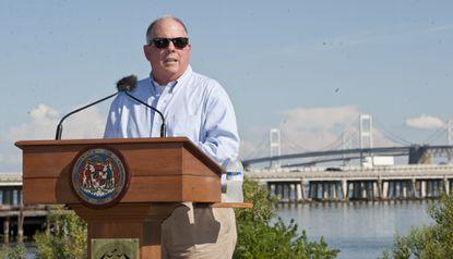 Gov. Larry Hogan addresses the media in 2016 regarding plans to begin studying a new bridge across the Chesapeake Bay.