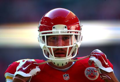 Kansas City Chiefs tight end Travis Kelce in a game against the Detroit Tigers.