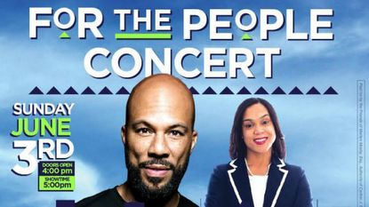 A promotional flier for Common's June 3 concert in Baltimore in support of State's Attorney Marilyn J. Mosby's re-election campaign.