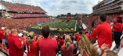 A panorama of Byrd Stadium during team introductions.