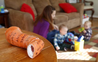 The cast used by her young son sits on a table in Jessica Ryan's home.