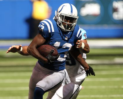 Indianapolis Colts wide receiver T.Y. Hilton runs after catching the ball during the second quarter.