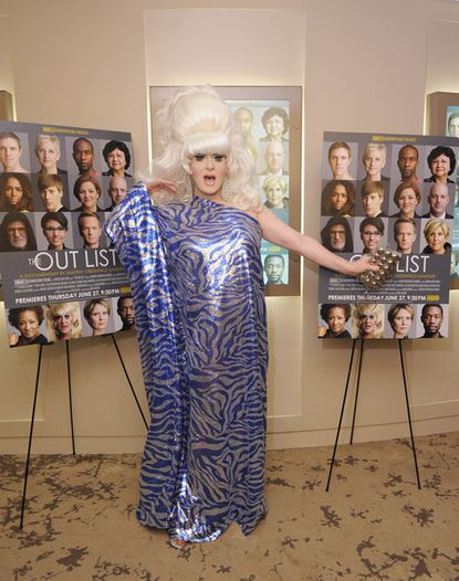 """Drag performer Lady Bunny attends the HBO premiere of """"The Out List."""""""