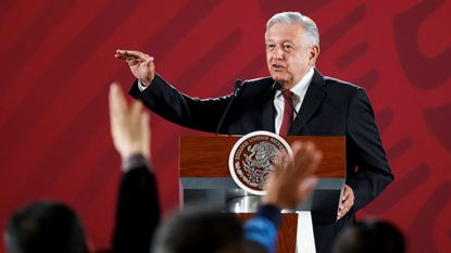President Andres Manuel Lopez Obrador, speaks during his morning press conference at the National Palace in Mexico City on June 3 concerning his strategy of maintaining a dialogue with the U.S. despite announced tariffs.