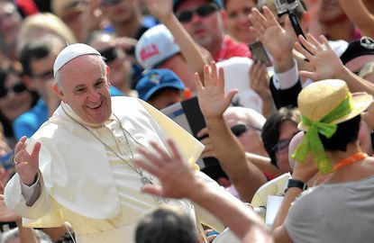 Pope Francis greets a crowd in St. Peter's Square on Sept. 2. He visits the U.S. on Sept. 22-27.