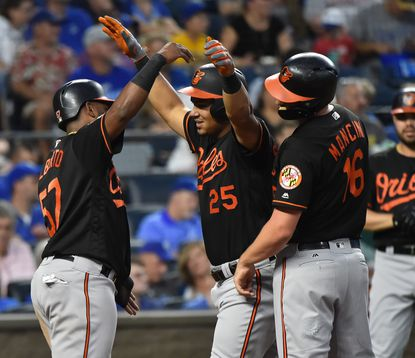 KANSAS CITY, MISSOURI - AUGUST 30: Anthony Santander #25 of the Baltimore Orioles celebrates his three-run home run with Hanser Alberto #57 and Trey Mancini #16 in the third inning against the Kansas City Royals at Kauffman Stadium on August 30, 2019 in Kansas City, Missouri. (Photo by Ed Zurga/Getty Images)
