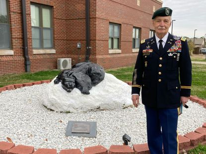 Retired Lt. Col. Pete Armstrong is pictured at Fort Bragg, N.C., in this March photo. Armstrong, a former Towson resident, will be part of the wreath-laying ceremony at the Dulaney Valley Memorial Gardens annual Memorial Day ceremony May 31. His father and his stepbrother, John Yeager, are buried there.