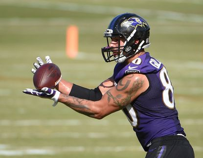 Ravens tight end Crockett Gillmore makes a catch during practice at training camp on Wednesday, Aug. 5, 2015, in Owings Mills.