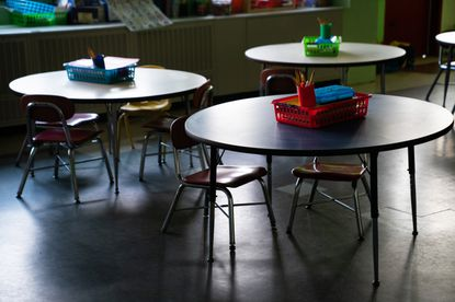 An empty classroom at Sinclair Lane Elementary School in April after schools were closed due to coronavirus. A draft city schools reopening plan would relax social distancing guidelines, require students and staff to wear masks and start the school year alternating in-person and online classes.