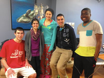 Members of the 'Honorary Pediatric Society' gather to celebrate Vanessa Perez's last day of chemotherapy. From left to right: Jacob Adler, Grace Mitchell, Vanessa Perez, Camilo Derya Rivera (author) and Michael Arthur.