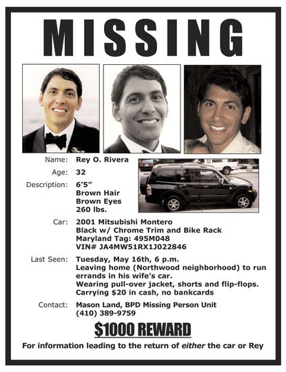 A poster after Rey Rivera of Stansberry Research went missing in 2006.