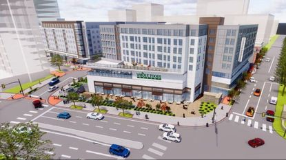 A rendering of Whole Foods, the planned anchor tenant for Towson Row, at the intersection of York Road and Towsontown Boulevard.