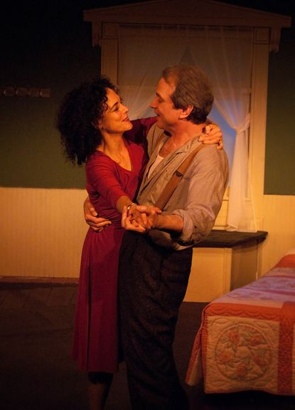 """Katherine Lyons as Timothea, Marc Horwitz as Colm in """"Sea Marks"""" at Performance Workshop Theatre"""
