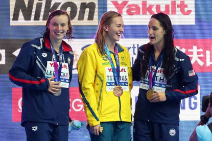 From left, silver medalist Katie Ledecky of the United States, gold medalist Ariarne Titmus of Australia and bronze medalist Leah Smith of the United States pose during the medal ceremony for the Women's 400m Freestyle Final on day one of the Gwangju 2019 FINA World Championships at Nambu International Aquatics Centre on July 21, 2019 in Gwangju, South Korea.