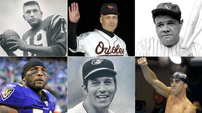 Clockwise from top left: Johnny Unitas, Cal Ripken Jr., Babe Ruth, Michael Phelps, Brooks Robinson and Ray Lewis.
