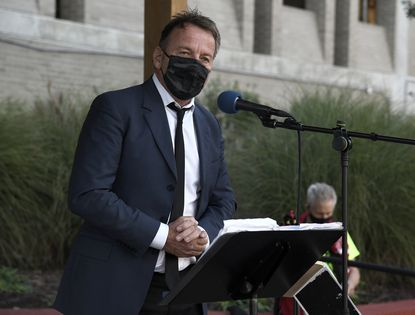 Annapolis Mayor Gavin Buckley speaks at a rally in November. On Monday, Buckley introduced a $152 million spending plan for the next fiscal year.