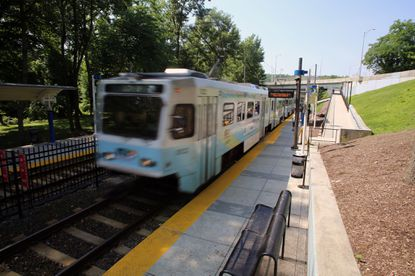 A lawsuit contends the Purple Line transit project proposed for the Washington suburbs could harm a pair of endangered shrimp-like crustaceans in Rock Creek. Seen here, a light rail train pulls into Linthicum, south of Baltimore.