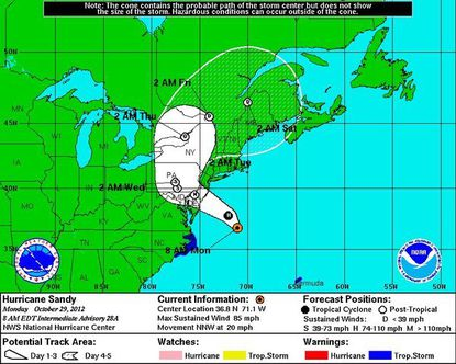 The projected path of Hurricane Sandy's eye through the week as of Monday.