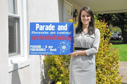 Hannah Cavey, seen here at her family's North Central Insurance Agency, is the new president of the Hereford Independence Day parade and fireworks celebrations. Cavey, 23, takes over the job from Leslie Pachol, who organized the first parade in 2006.
