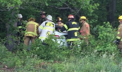 A woman was critically injured in a car accident along southbound Interstate-95 in the Joppa area, according to a report from the Joppa-Magnolia Volunteer Fire Company.