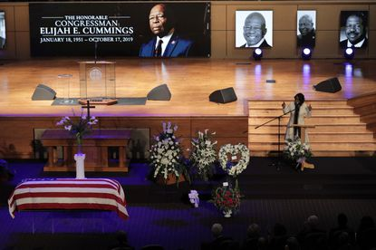 Maya Rockeymoore Cummings speaks during funeral services for her husband, the late U.S. Rep. Elijah Cummings, in October in Baltimore. Legislation on drug pricing the late Congressman pushed is expected to pass the House this week.