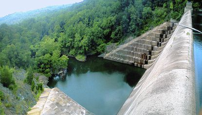 A person was flown to a hospital Tuesday afternoon after suffering a heart attack at Liberty Dam, officials said.