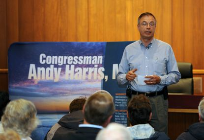 Congressman Andy Harris speaks to constituents at Bel Air Town Hall.