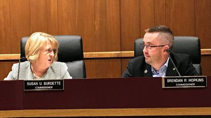 Bel Air Town Commissioners Susan Burdette, left, and Brendan Hopkins were elected Monday to another year as mayor and vice chair of the town board. Burdette was elected to her fourth year as mayor and Hopkins to his second as vice chair.