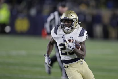 """Navy's Myles Fells, seen during a game against Notre Dame on Nov. 16, 2019, plans to enter politics one day, and he has a vision of a """"dream center"""" to help the youth in his hometown of Little Rock, Arkansas."""