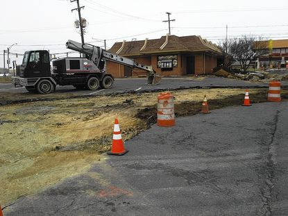 Work is under way on the renovation of the McDonald's in Bel Air Plaza. The existing building will be replaced by a new one, and improvements will be made to traffic flow to and from the drive-through.