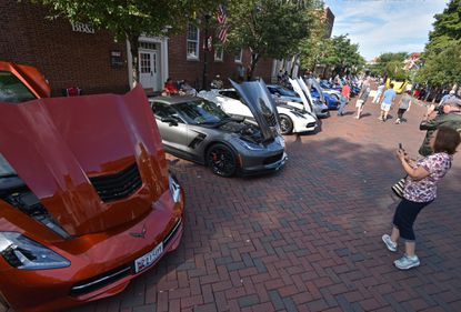 Over 80 Corvettes line up during a Corvette Show in Annapolis. On Saturday, Sept. 14, the American Thunder Car Show hosted by the Classic Corvette Club of Maryland will be held at Jeff Barnes Chevrolet in Eldersburg.