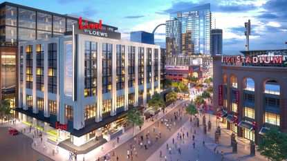 A rendering of the hotel being developed by The Cordish Companies and the St. Louis Cardinals in their Ballpark Village project outside Busch Stadium in St. Louis.