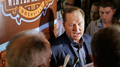 Sports agent Scott Boras talks with reporters at Major League Baseball's winter meetings Wednesday, Dec. 9, 2015, in Nashville, Tenn.