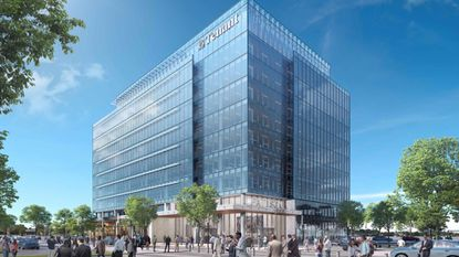A rendering of Pattison Place, a $80 million office building that The Cordish Companies plan to build at the Philadelphia Sports Complex.