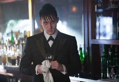 """Oswald Cobblepot (Robin Lord Taylor) observes Maroni's business dealings on """"Gotham."""""""
